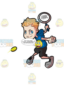 An Adolescent Boy Hitting A Forehand Tennis Shot