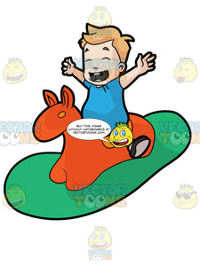 A Male Toddler Riding An Animal Rocker