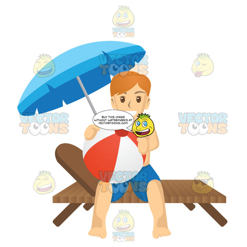 Man Sitting On A Beach Lounge Chair With An Umbrella While Holding A Beach Ball