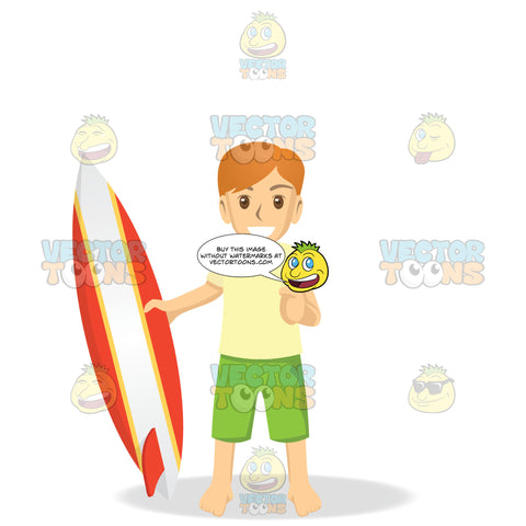 Male Holding A Surfboard While Giving A Thumbs Up