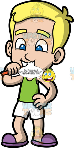 Young Bob Brushing His Teeth In The Morning. A blond boy wearing white shorts, a green tank top, and purple slip on shoes, brushing his teeth with an orange toothbrush