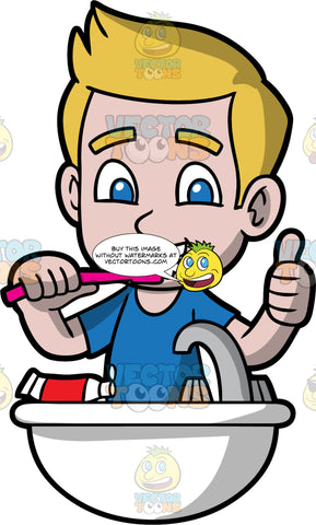 Young Matthew Brushing His Teeth. A boy wearing a blue t-shirt, standing at the bathroom sink brushing his teeth and giving the thumbs up