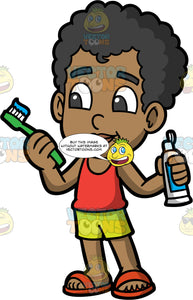 Young Jimmy Getting Ready To Brush His Teeth. A black boy wearing lime green shorts, a red tank top, and red sandals, holding a tube of toothpaste in one hand and a toothbrush with toothpaste on it in the other hand