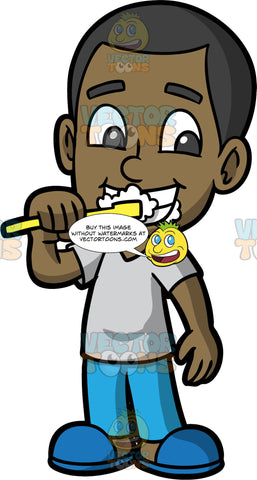Young Calvin Brushing His Teeth. A black boy wearing blue pajama pants, a gray t-shirt, and blue slippers, brushing his teeth before bed