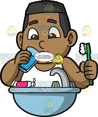 Young James Rinsing His Mouth After Brushing His Teeth. A black boy wearing a white tank top, holding a toothbrush in one hand and a glass of water in the other, taking a sip from the glass to rinse out his mouth