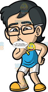 Young Simon Brushing His Teeth In The Morning. An Asian boy wearing white shorts, a blue tank top, yellow shoes, and eyeglasses, standing and brushing his teeth