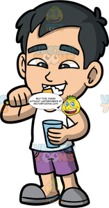 Young Kevin Brushing His Teeth Before School. An Asian boy wearing purple shorts, a white tank top, and gray shoes, holding a glass of water in his one hand while brushing his teeth with the other
