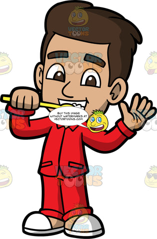 Young Gabriel Brushing His Teeth Before Bed. A Hispanic boy wearing red pajamas and white slippers, waving and brushing his teeth