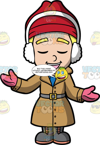 Young Bob Singing Christmas Carols. A blond boy wearing a long brown coat, gray boots, pink gloves, a red hat, and white ear muffs, standing outside and singing carols