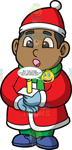 Young James Singing Christmas Carols. A black boy wearing green pants, a long red coat, blue shoes, a green scarf, blue gloves, and a red hat, holding a candle and singing Christmas songs