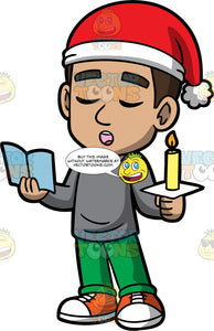 Young Gabriel Singing Christmas Carols. A Hispanic boy wearing green pants, a gray shirt, orange sneakers, and a red and white Santa hat, holding a candle in one hand and a hymn book in the other, singing Christmas carols