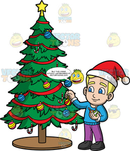 Young Bob Putting Decorations On A Christmas Tree. A blonde boy wearing purple pants, a blue sweater, black shoes, and a Santa hat, placing ornaments on a Christmas tree
