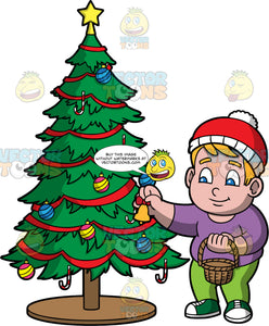 Young Sam Trimming A Christmas Tree. A chubby boy wearing green pants, a purple shirt, green shoes, and a red and white hat, putting a bell on a Christmas tree