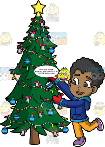 Young Jimmy Decorating A Christmas Tree. A black boy wearing a blue jacket, yellow pants, purple shoes, and red gloves, putting Christmas ornaments on a tree