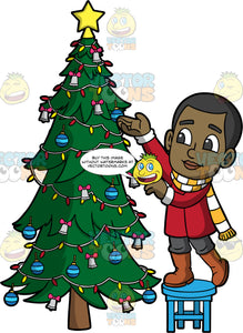 Young Calvin Putting Decorations On A Christmas Tree. A black boy wearing a red coat, gray pants, brown boots, and a yellow and white striped scarf, standing on a stool and decorating a Christmas tree