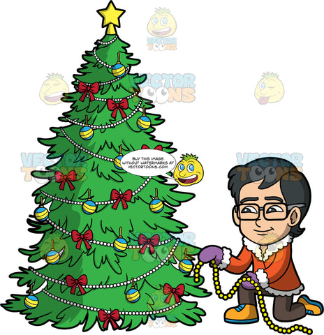 Young Simon Decorating A Christmas Tree. An Asian boy wearing brown pants, an orange coat with white trim, yellow shoes, purple mittens, and eyeglasses, putting a string of pearls on a Christmas tree