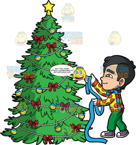 Young Kevin Putting Ribbon On A Christmas Tree. An Asian boy wearing green pants, a yellow and orange polka dot sweater, purple shoes, white gloves, and a blue and red striped scarf, getting ready to place a blue ribbon on a Christmas tree