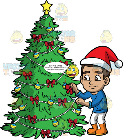 Young Gabriel Trimming A Christmas Tree. A Hispanic boy wearing white pants, a blue shirt, orange boots, and a Santa hat, putting a bow on a Christmas tree
