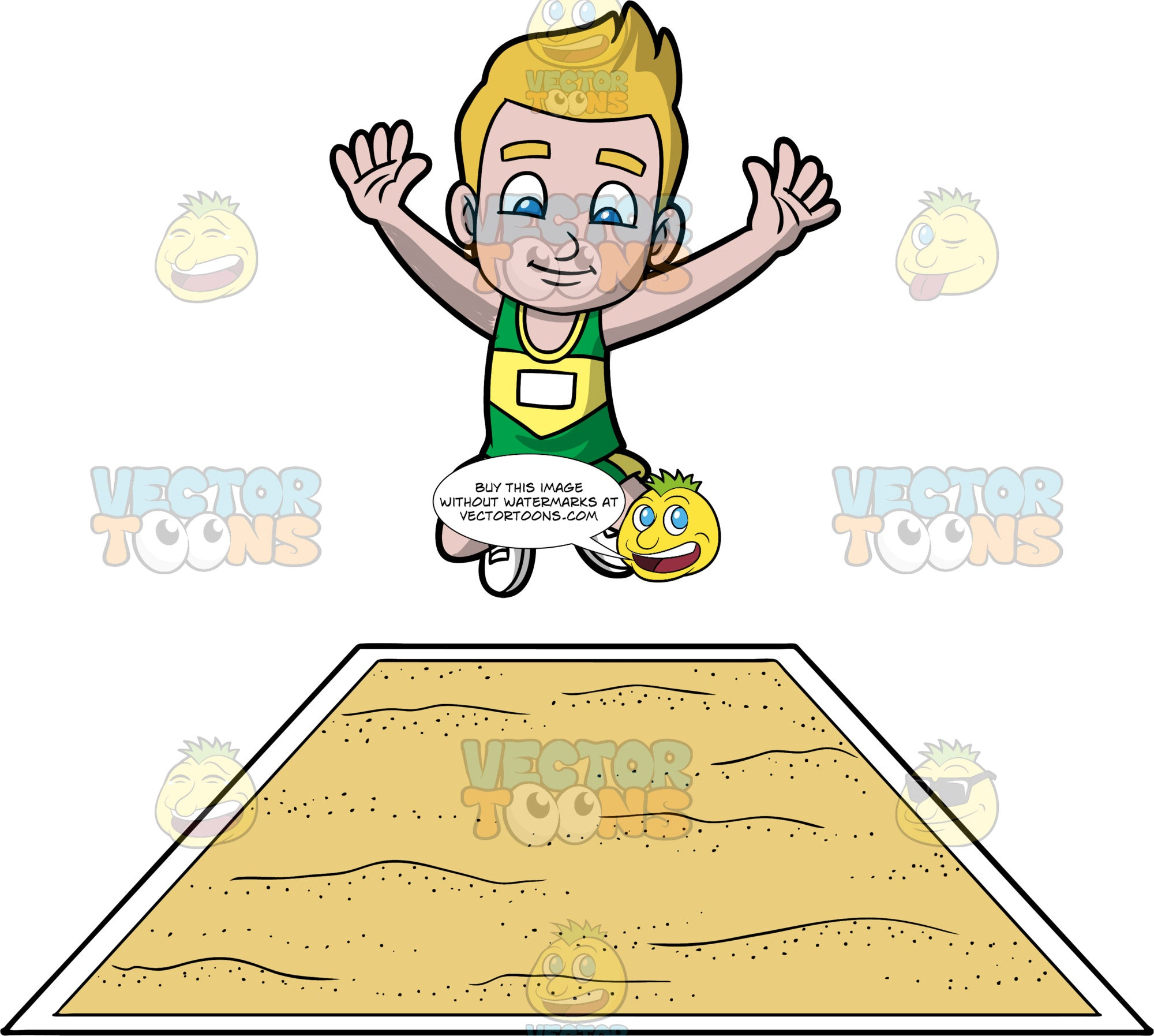 Young Matthew Jumping During A Long Jump Event. A young boy wearing green with yellow shorts, a green and yellow tank top, and white running shoes, jumps into the air and prepares to land in a long jump pit