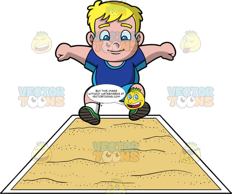 Young Sam Preparing To Land In A Long Jump Pit. A chubby blonde boy wearing blue shorts, a dark blue shirt, and green running shoes, getting ready to land in a sand pit during a long jump event