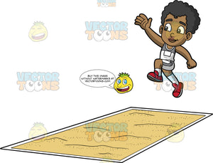 Young Jimmy Doing The Long Jump. A young black boy wearing white with gray shorts, a white and gray tank top, and red running shoes, jumping and getting ready to land in a pit of sand during a long jump contest