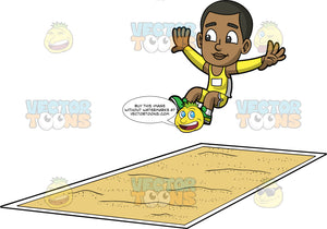 Young Calvin Jumping Into A Long Jump Pit. A young black boy wearing yellow shorts, a yellow tank top, yellow arm bands, and green running shoes, jumping and preparing to land in a long jump pit