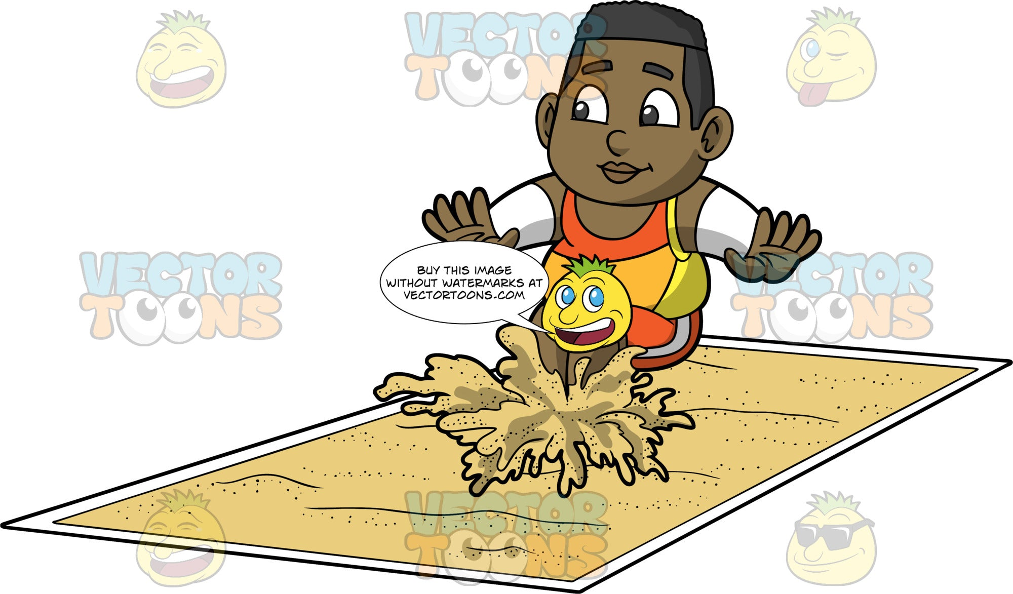 Young James Landing In A Long Jump Pit. A chubby black boy wearing orange shorts, an orange and yellow tank top, and white arm bands, landing in a pit of sand during a long jump competition