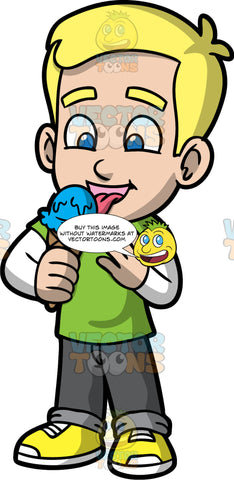 Young Bob Eating Blueberry Ice Cream. A blonde boy wearing dark gray pants, a green t-shirt over a long sleeve white shirt, and yellow running shoes, enjoying a delicious ice cream cone