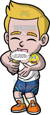 Young Matthew Eating Ice Cream With Sprinkles. A young boy wearing blue shorts, a white tank top, and orange  shoes, closes his eyes as he licks his vanilla ice cream with sprinkles on top