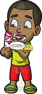Young Calvin Eating A Three Scoop Ice Cream Cone. A black boy wearing red pants, a yellow t-shirt, and green sandals, smiling as he eats his ice cream cone and has ice cream all over his face