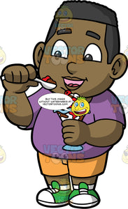 Young James Eating An Ice Cream Sundae. A young black boy wearing yellow shorts, a purple t-shirt, and green sneakers, about to put a spoonful of ice cream in his mouth