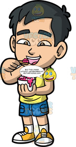 Young Kevin Eating Strawberry Ice Cream. An Asian boy wearing blue shorts, a yellow tank top, and yellow sneakers, preparing to put a spoonful of strawberry ice cream in his mouth