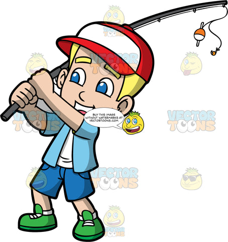 Young Bob Casting His Fishing Rod. A blonde boy wearing blue shorts, a blue shirt over a white t-shirt, and green shoes, holding his fishing rod and prepares to cast it
