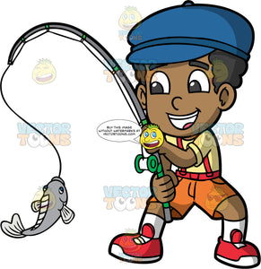Young Jimmy Excited That He Caught A Fish. A black boy wearing orange shorts, a yellow shirt, red suspenders, red shoes, and a blue cap, smiles as he reels in a fish