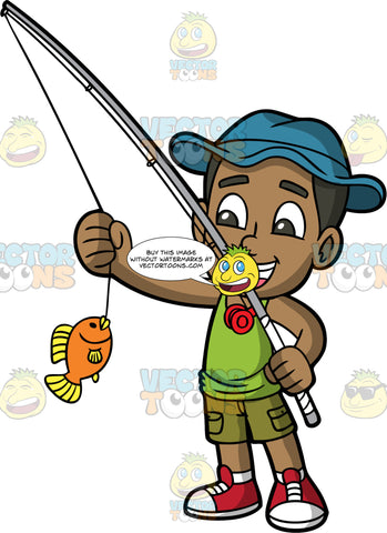 Young Calvin Happy That He Caught A Fish. A black boy wearing olive green shorts, a green tank top, a blue hat, and red sneakers, smiles and admires the fish he caught