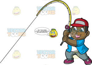 Young James Pulling On His Fishing Rod. A black boy wearing gray pants, a blue shirt over a white t-shirt, a red baseball hat, and purple shoes, pulls on his fishing rod hoping that he caught a fish