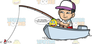 Young Kevin Sitting In A Boat Fishing. An Asian boy wearing red shorts, a white shirt, and a purple and white baseball hat, sitting in a small boat and patiently waits to catch a fish