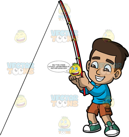 Young Gabriel Having Fun Fishing. A young Hispanic boy wearing brown shorts, a long sleeve blue shirt, and green sneakers, smiles as he tries to catch a fish