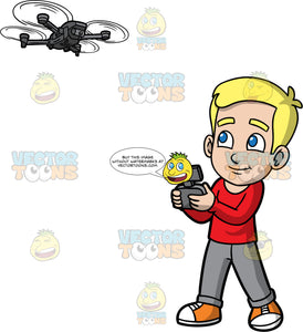 Young Bob Flying A Hobby Drone. A young blonde boy wearing gray pants, a red long sleeve shirt, and orange sneakers, standing and flying a drone with a remote control