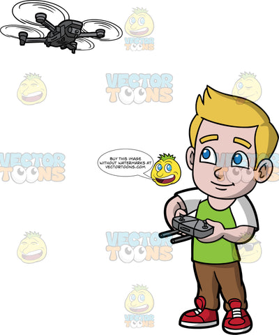 Young Matthew Playing With A Drone. A young boy wearing brown pants, a green and white t-shirt, and red shoes, using a remote control to fly a hobby dronw