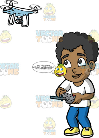 Young Jimmy Flying A Drone. A young black boy wearing blue pants, a white t-shirt, and yellow shoes, standing and controlling a white drone with a remote control