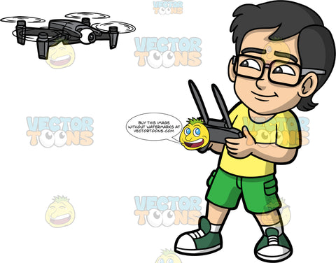 Young Simon Flying A Drone. A young Asian boy wearing green shorts, a yellow t-shirt, white socks, dark green sneakers, and eyeglasses,  standing and holding a black remote control and using it to control a black hobby drone