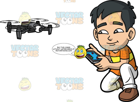 Young Kevin Flying A Personal Drone. A young Asian boy wearing white pants, an orange and yellow t-shirt, and brown shoes, kneeling down as he flies a hobby drone