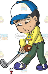 An Asian Boy Playing Golf