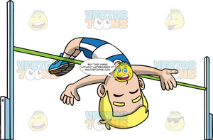 Young Bob Clearing A High Jump Bar. A young blonde boy wearing blue with white shorts, a blue and white tank top, and blue running shoes, launching himself over a horizontal high jump bar