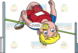 Young Sam Jumping Over A High Jump Bar. A chubby blonde boy wearing red and blue shorts, a red and blue shirt, and white running shoes, jumping backwards over a high bar