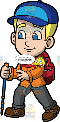 Young Bob Going On A Hike. A blonde boy wearing dark gray pants, an orange shirt, brown hiking shoes, a red backpack, and a blue baseball hat, holding a walking pole in one hand while hiking along a trail