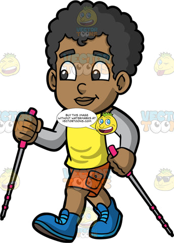 Young Jimmy Enjoying The Outdoors While On A Hike. A black boy wearing orange shorts, a yellow tank top, gray arm warmers, and blue walking shoes, holding onto walking poles as he takes a hike on a nice day