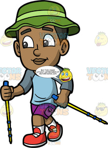 Young Calvin Out On A Hike. A black boy wearing purple shorts, a blue shirt, red shoes, and a green sun hat, holding onto walking poles while going for a hike