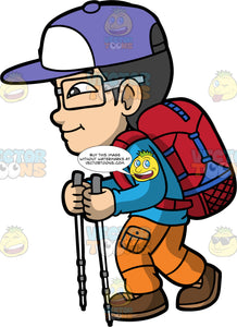 Young Simon On A Long Hike. An Asian boy wearing orange cargo pants, a long sleeve blue shirt, brown hiking boots, a red backpack, eyeglasses, and a purple baseball hat, holding walking poles in his hands while hiking up a hill